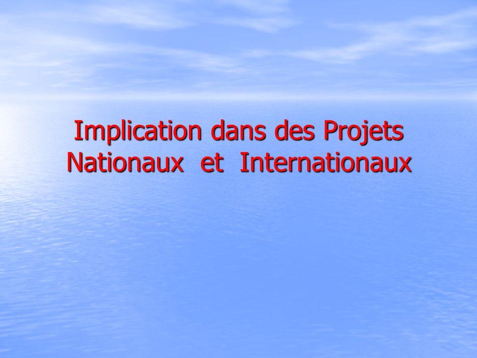 Implication dans des Projets Nationaux et Internationaux