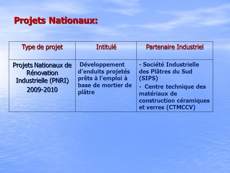 Projets Nationaux: Type de projet Intitulé Partenaire Industriel