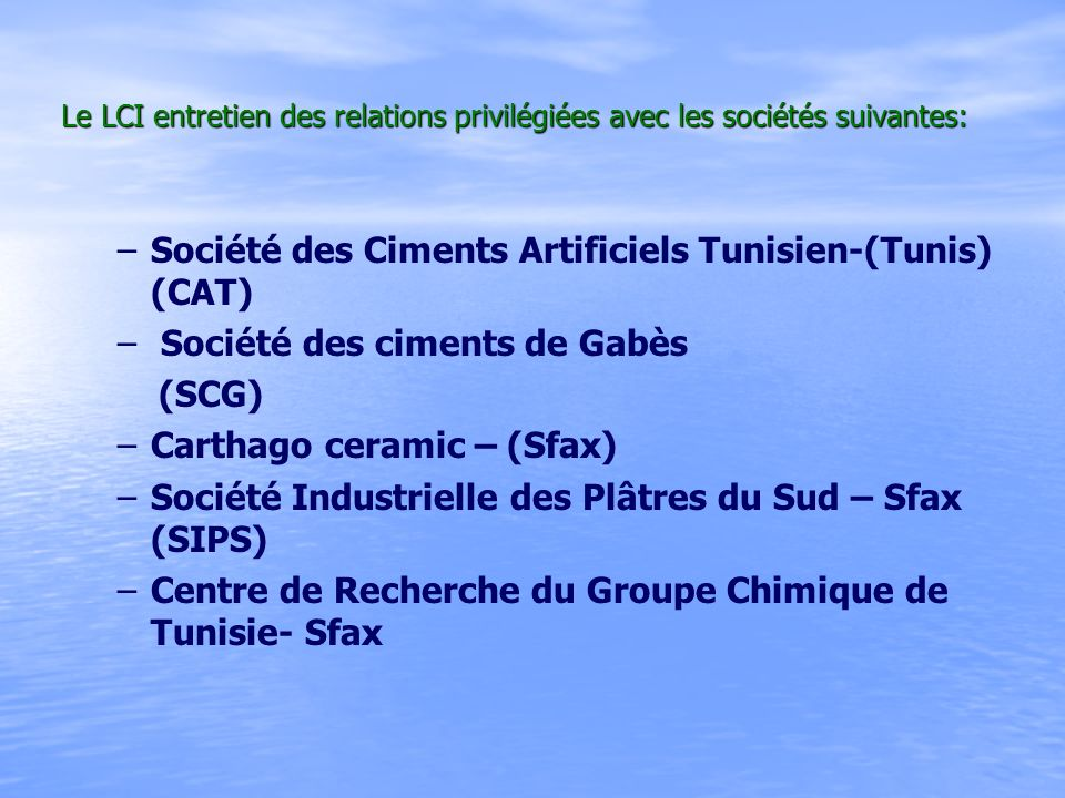 Société des Ciments Artificiels Tunisien-(Tunis) (CAT)