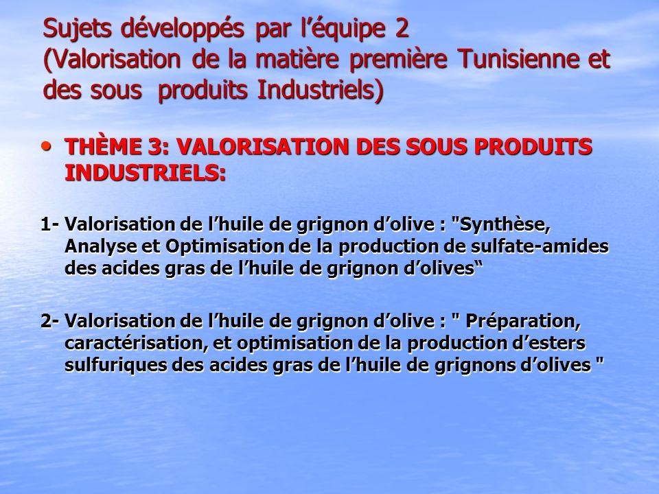 Sujets développés par l'équipe 2 (Valorisation de la matière première Tunisienne et des sous produits Industriels)