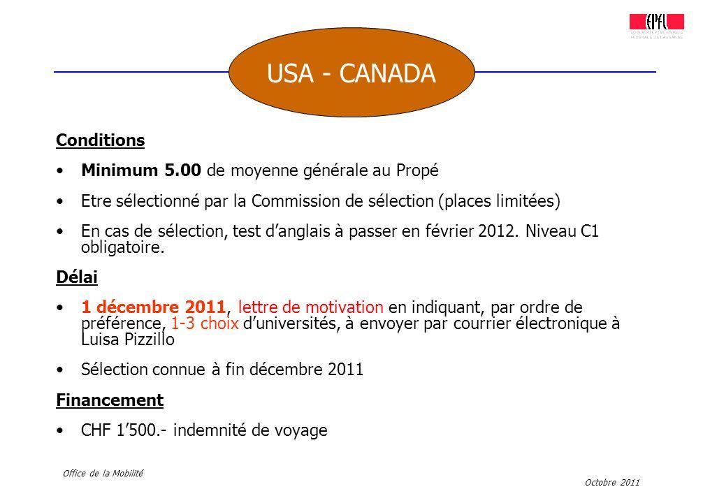 USA - CANADA Conditions Minimum 5.00 de moyenne générale au Propé