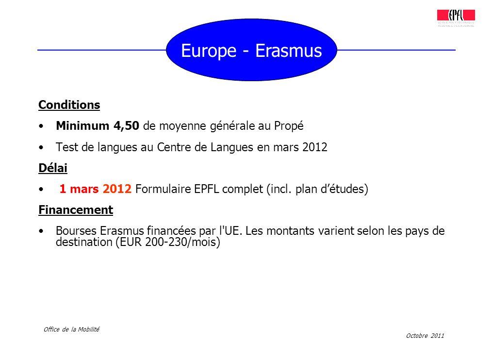 Europe - Erasmus Conditions Minimum 4,50 de moyenne générale au Propé