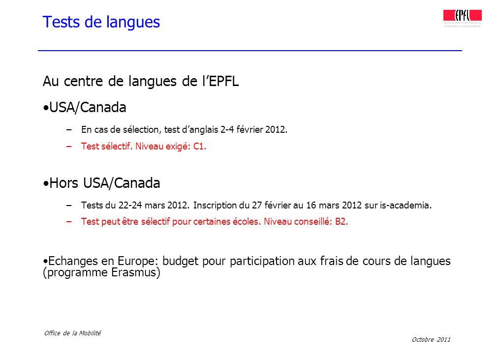 Tests de langues Au centre de langues de l'EPFL USA/Canada