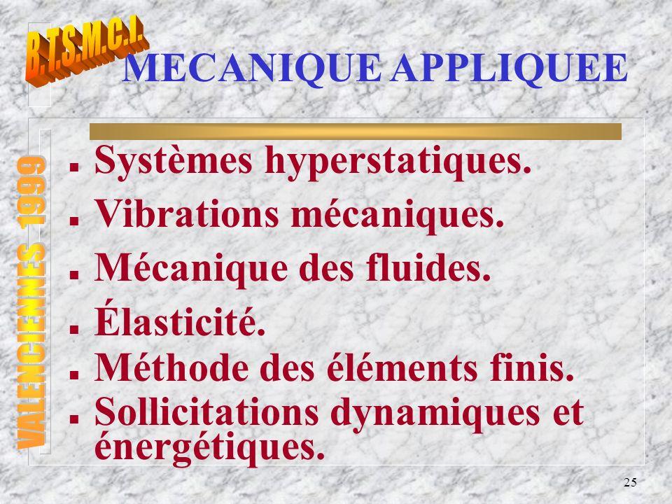 Systèmes hyperstatiques. Vibrations mécaniques. Mécanique des fluides.