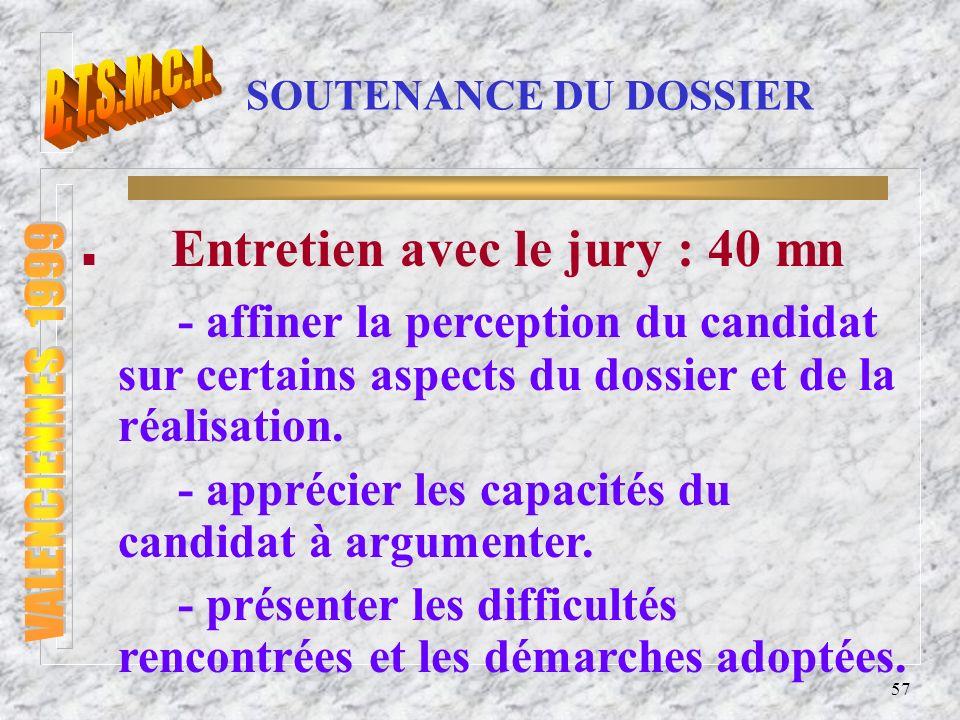 Entretien avec le jury : 40 mn
