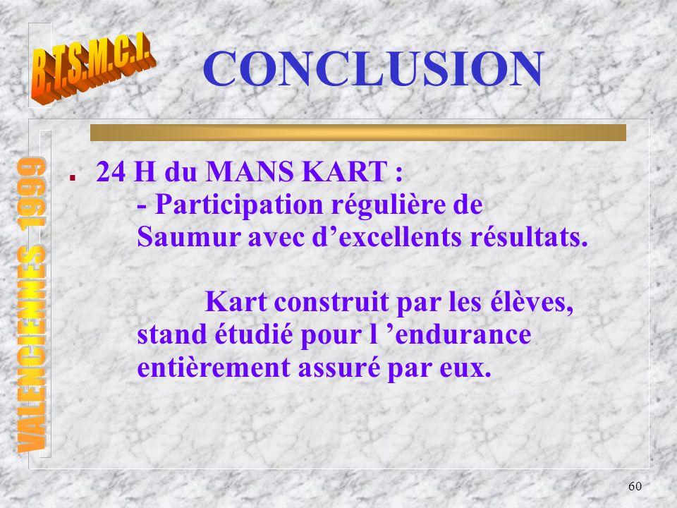 B.T.S.M.C.I. VALENCIENNES 1999 CONCLUSION