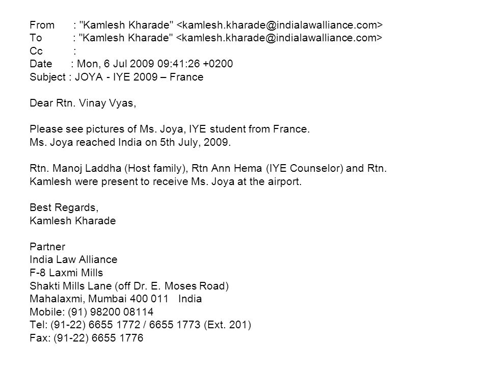 From : Kamlesh Kharade <kamlesh.kharade@indialawalliance.com>