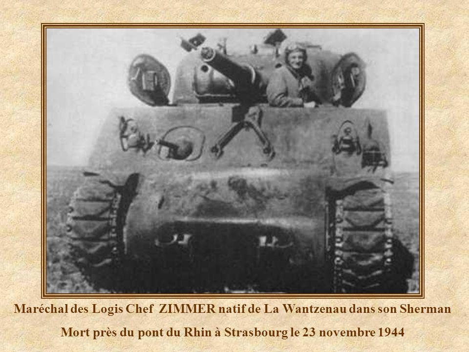 Maréchal des Logis Chef ZIMMER natif de La Wantzenau dans son Sherman