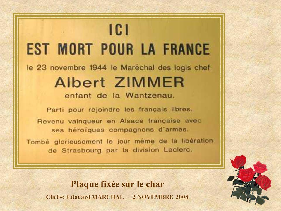 Plaque fixée sur le char Cliché: Edouard MARCHAL - 2 NOVEMBRE 2008