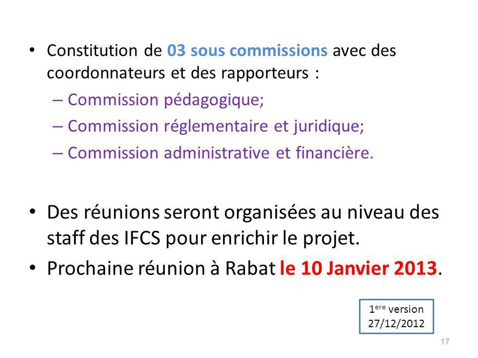 Prochaine réunion à Rabat le 10 Janvier 2013.