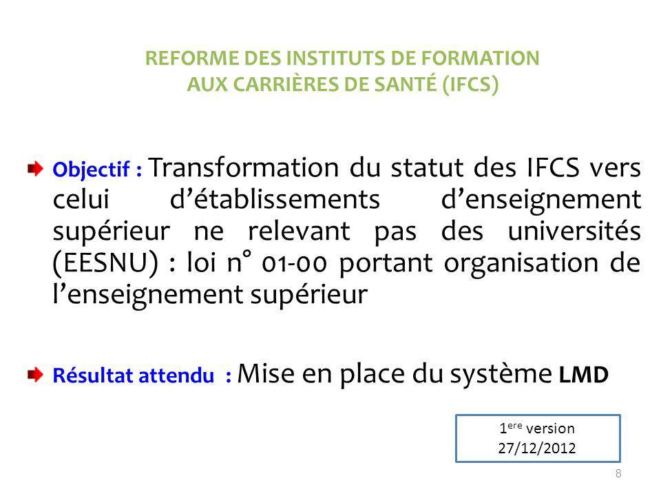 REFORME DES INSTITUTS DE FORMATION AUX CARRIÈRES DE SANTÉ (IFCS)