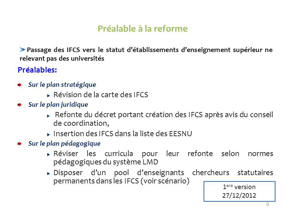 Préalable à la reforme Préalables: Révision de la carte des IFCS