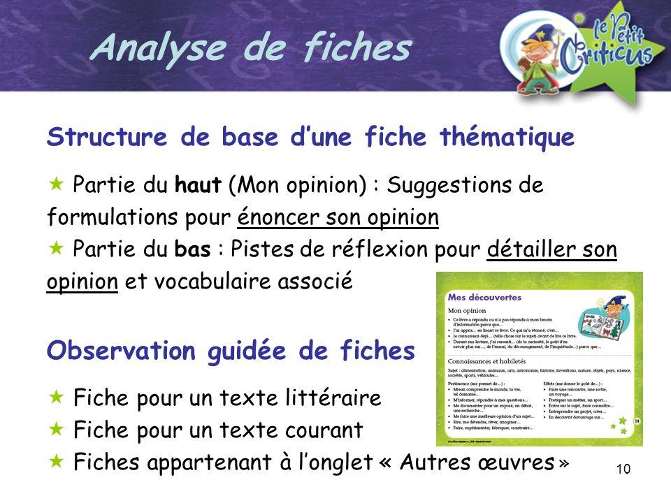 Analyse de fiches Structure de base d'une fiche thématique