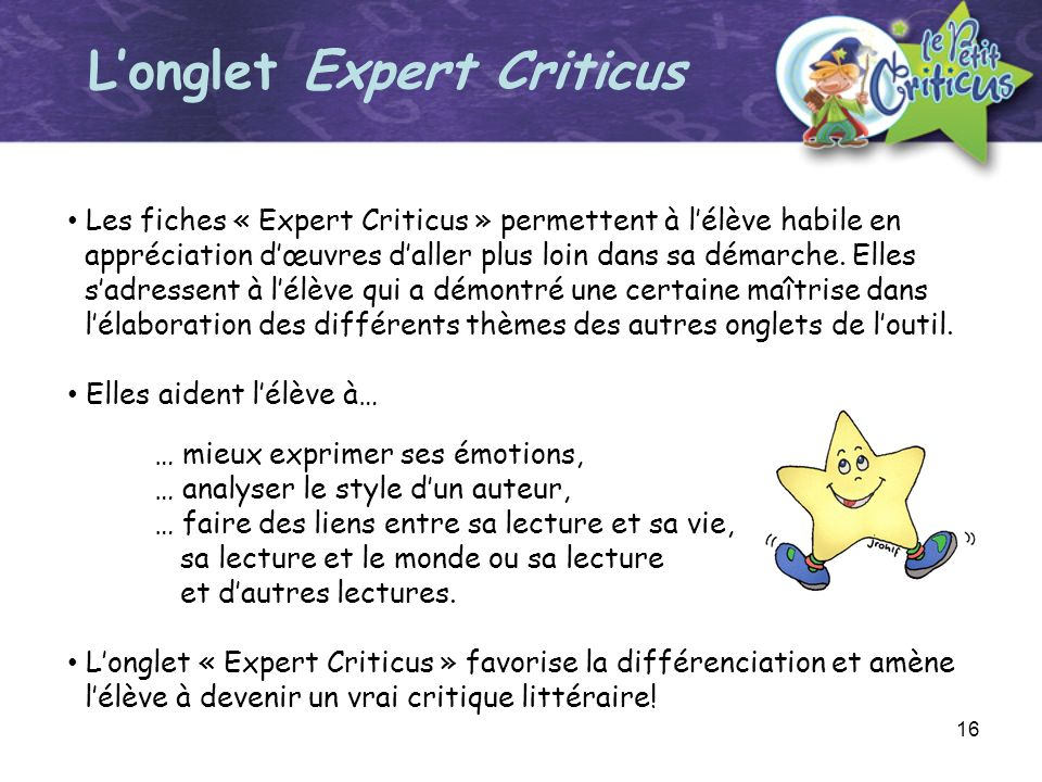 L'onglet Expert Criticus
