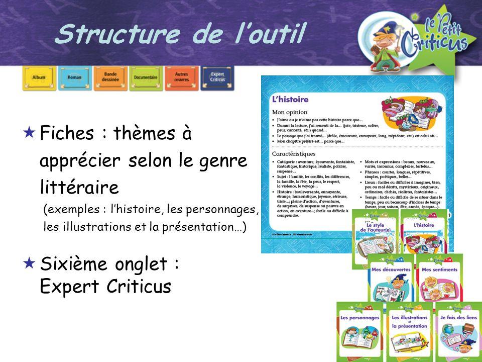 Structure de l'outil Fiches : thèmes à apprécier selon le genre littéraire.