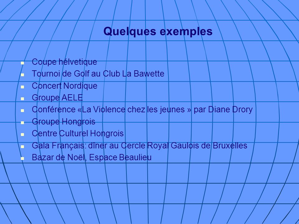 Quelques exemples Coupe hélvetique Tournoi de Golf au Club La Bawette