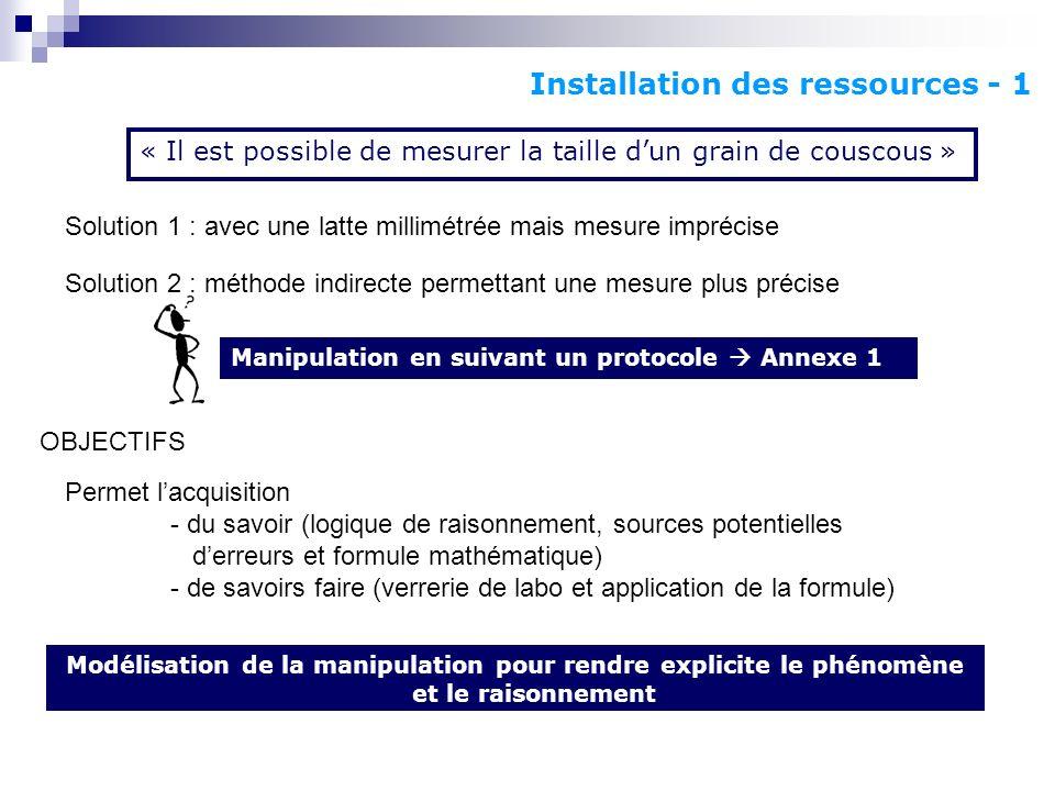 Installation des ressources - 1