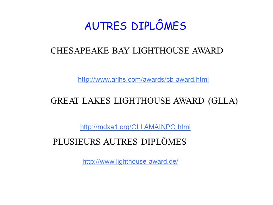 AUTRES DIPLÔMES CHESAPEAKE BAY LIGHTHOUSE AWARD
