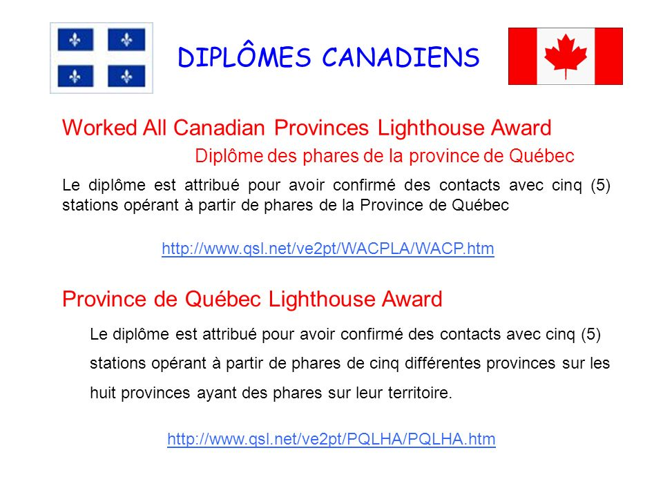 DIPLÔMES CANADIENS Worked All Canadian Provinces Lighthouse Award