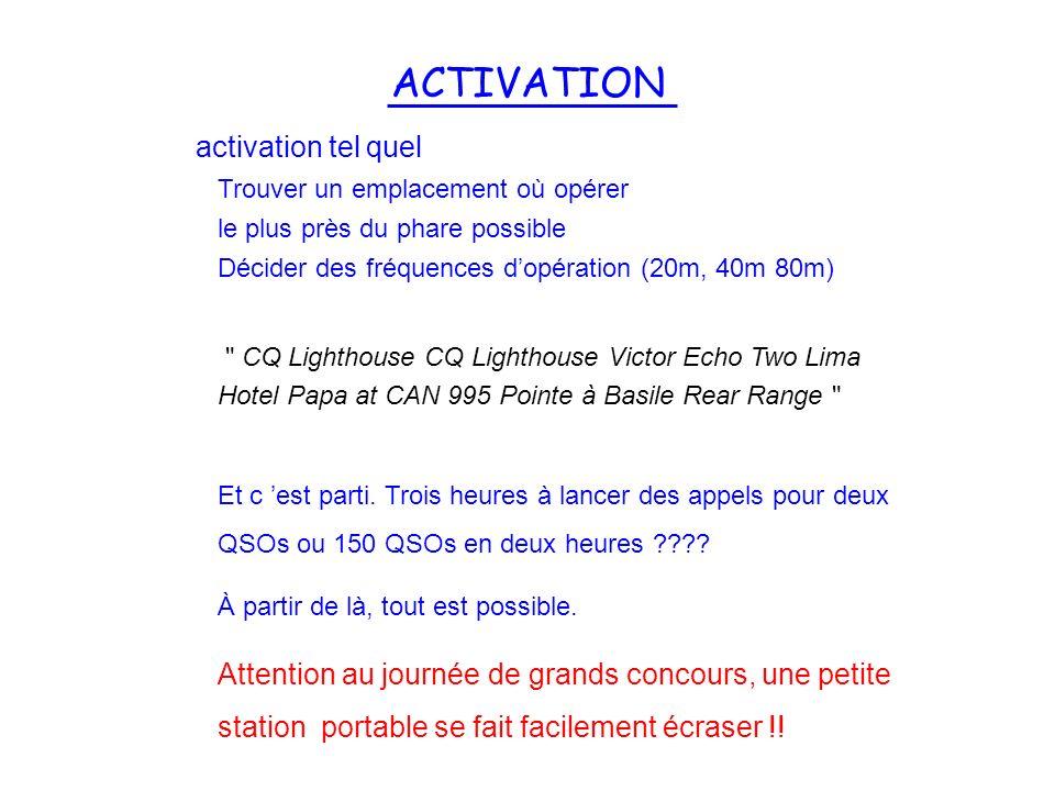 ACTIVATION activation tel quel