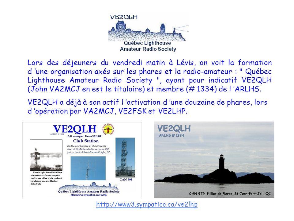 Lors des déjeuners du vendredi matin à Lévis, on voit la formation d 'une organisation axés sur les phares et la radio-amateur : Québec Lighthouse Amateur Radio Society , ayant pour indicatif VE2QLH (John VA2MCJ en est le titulaire) et membre (# 1334) de l 'ARLHS.