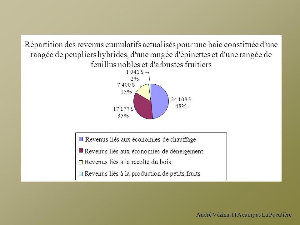 Répartition des revenus cumulatifs actualisés pour une haie constituée d une rangée de peupliers hybrides, d une rangée d épinettes et d une rangée de feuillus nobles et d arbustes fruitiers