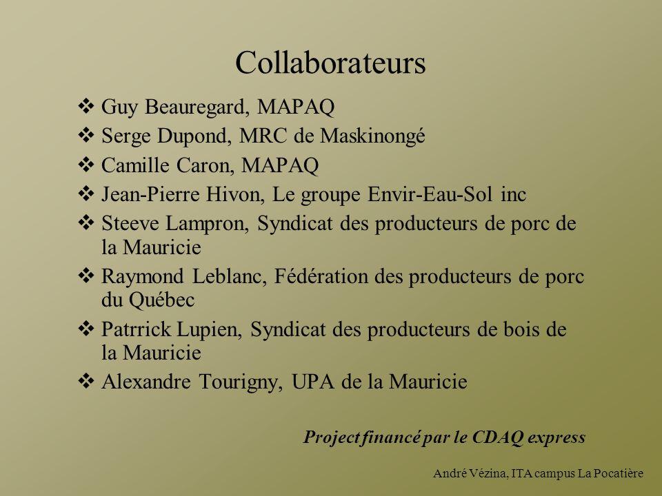Collaborateurs Guy Beauregard, MAPAQ Serge Dupond, MRC de Maskinongé