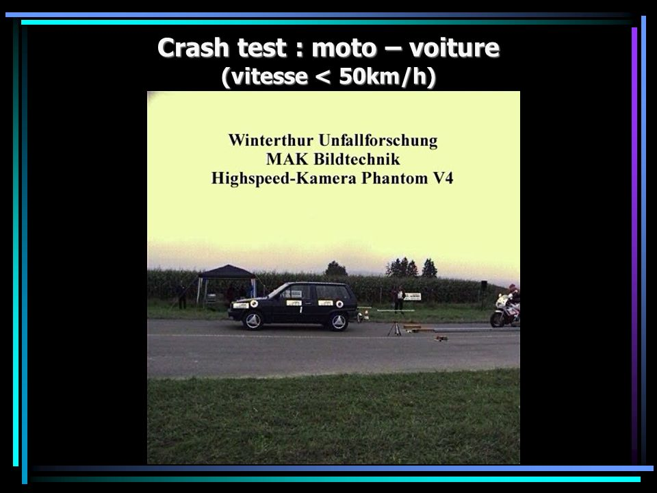 Crash test : moto – voiture (vitesse < 50km/h)