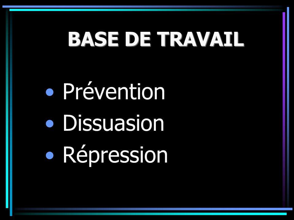 BASE DE TRAVAIL Prévention Dissuasion Répression