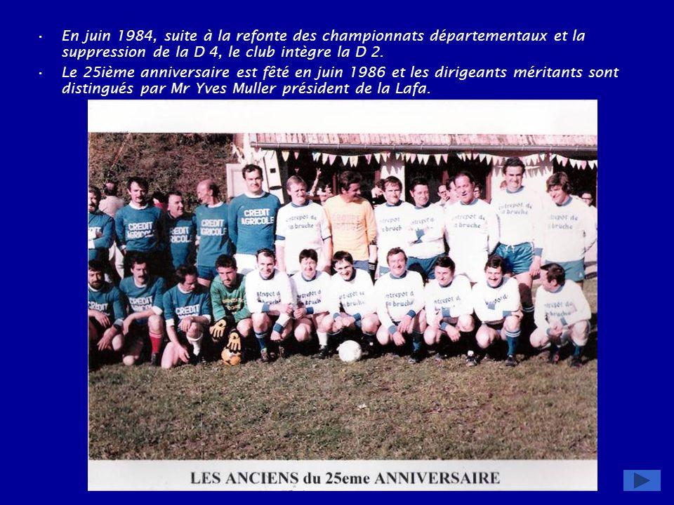 En juin 1984, suite à la refonte des championnats départementaux et la suppression de la D 4, le club intègre la D 2.
