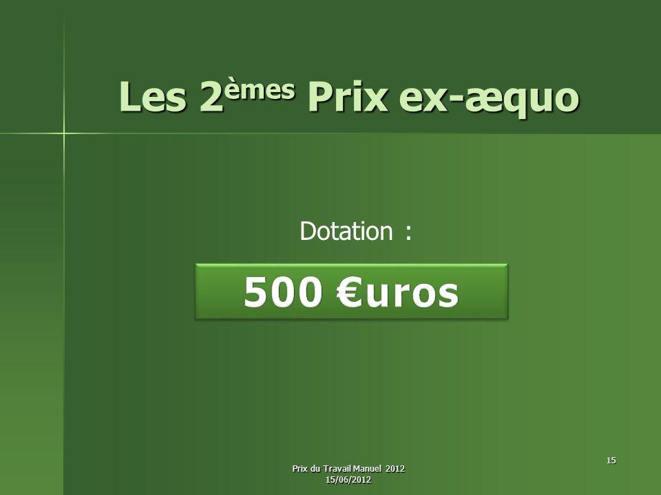 Les 2èmes Prix ex-æquo 500 €uros