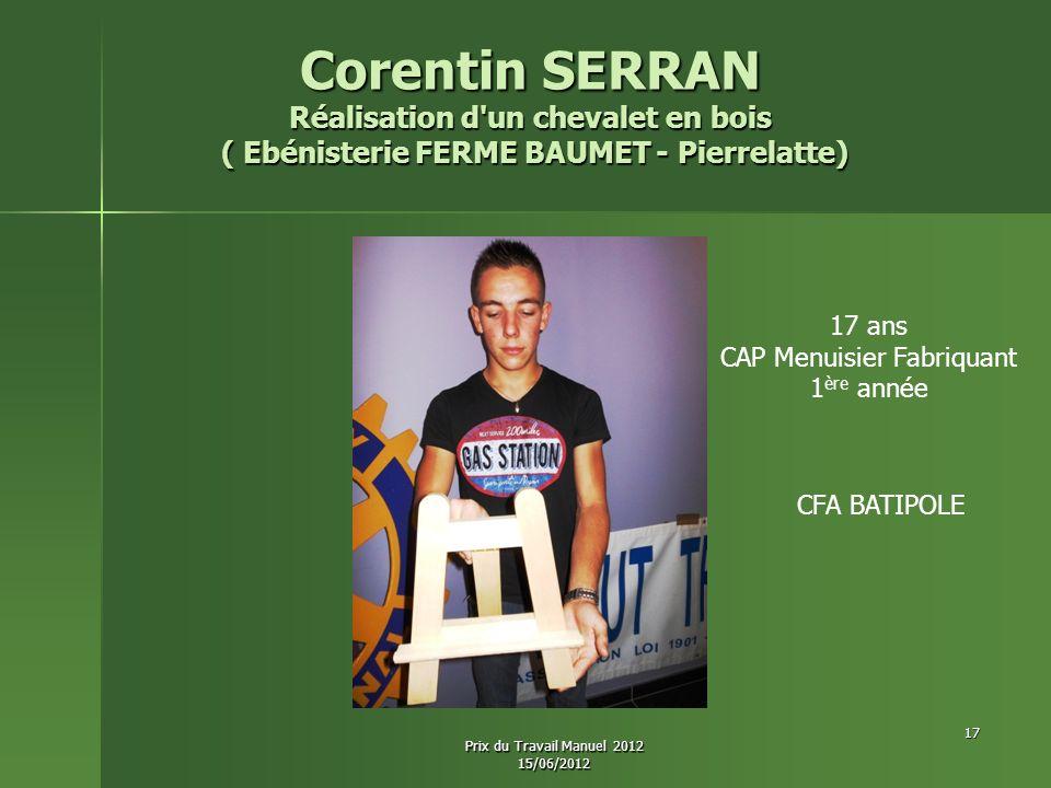 Corentin SERRAN Réalisation d un chevalet en bois
