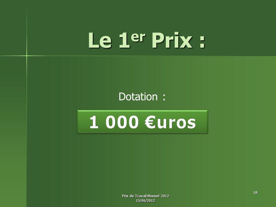Le 1er Prix : 1 000 €uros Dotation : Prix du Travail Manuel 2012