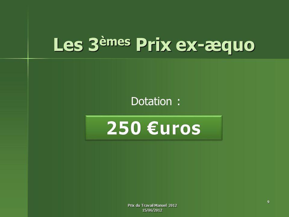 Les 3èmes Prix ex-æquo 250 €uros Dotation :