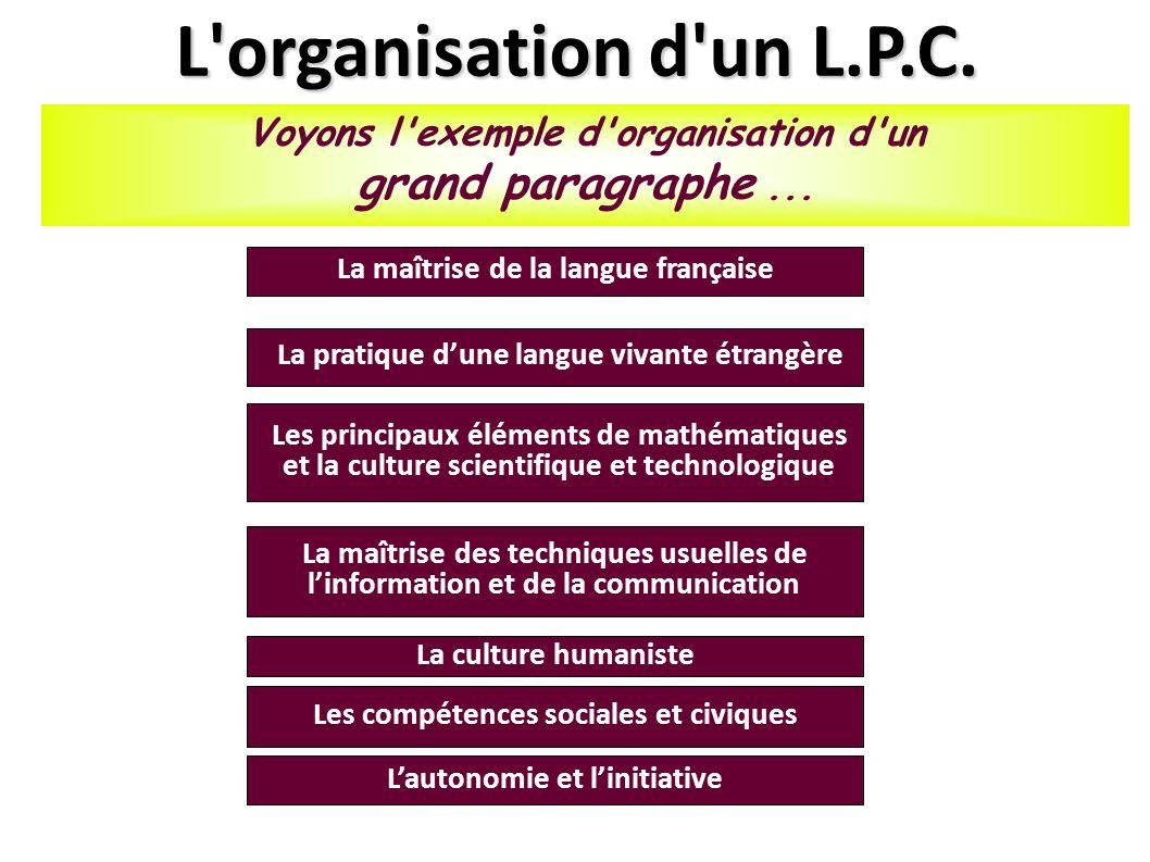 L organisation d un L.P.C. grand paragraphe ...