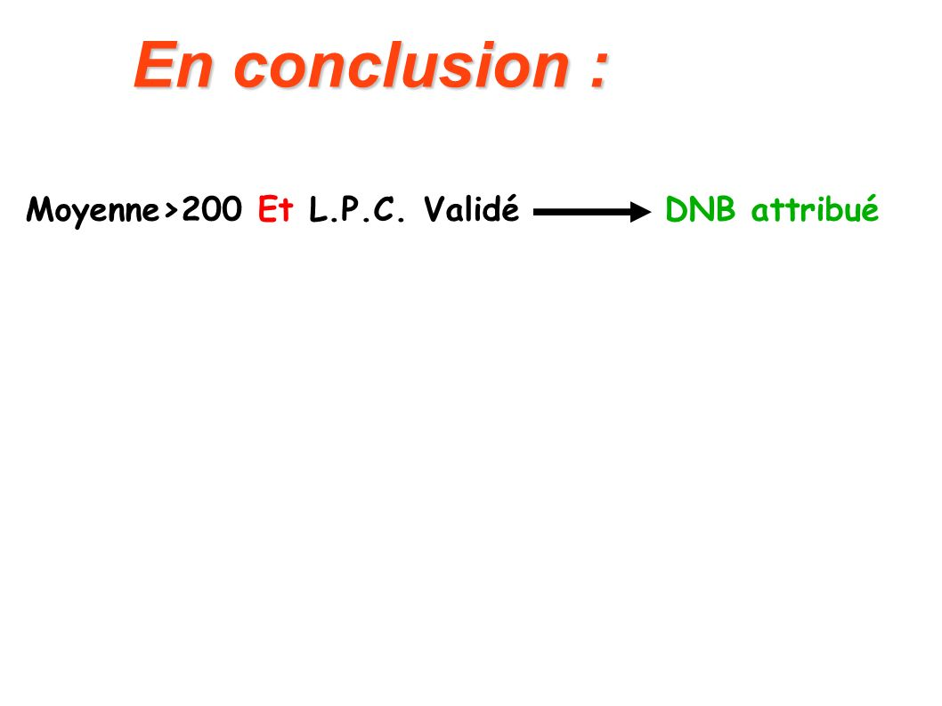 En conclusion : Moyenne>200 Et L.P.C. Validé DNB attribué