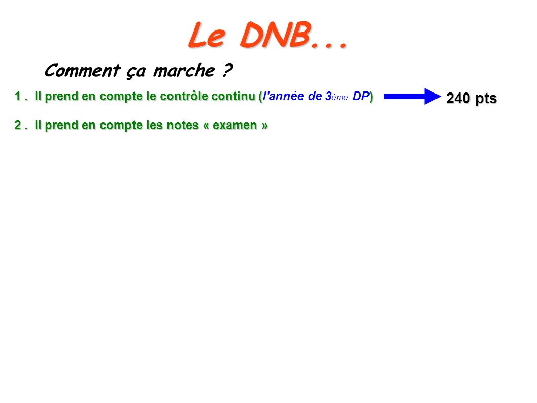 Le DNB... Comment ça marche 240 pts
