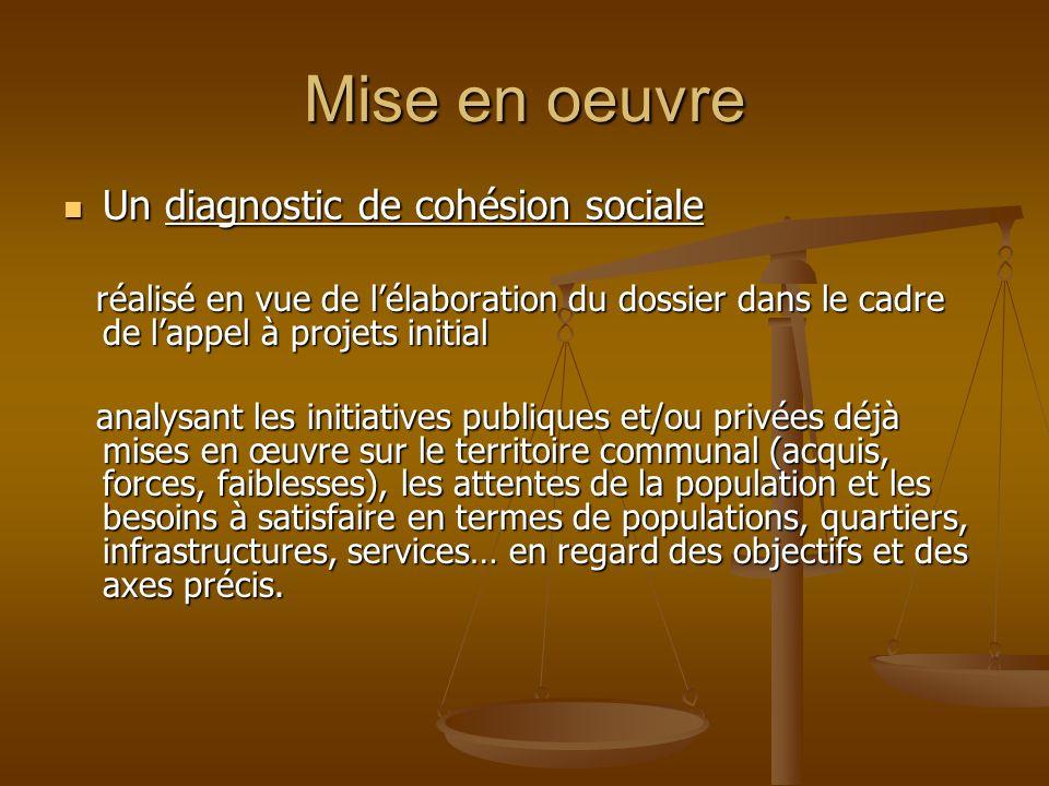 Mise en oeuvre Un diagnostic de cohésion sociale