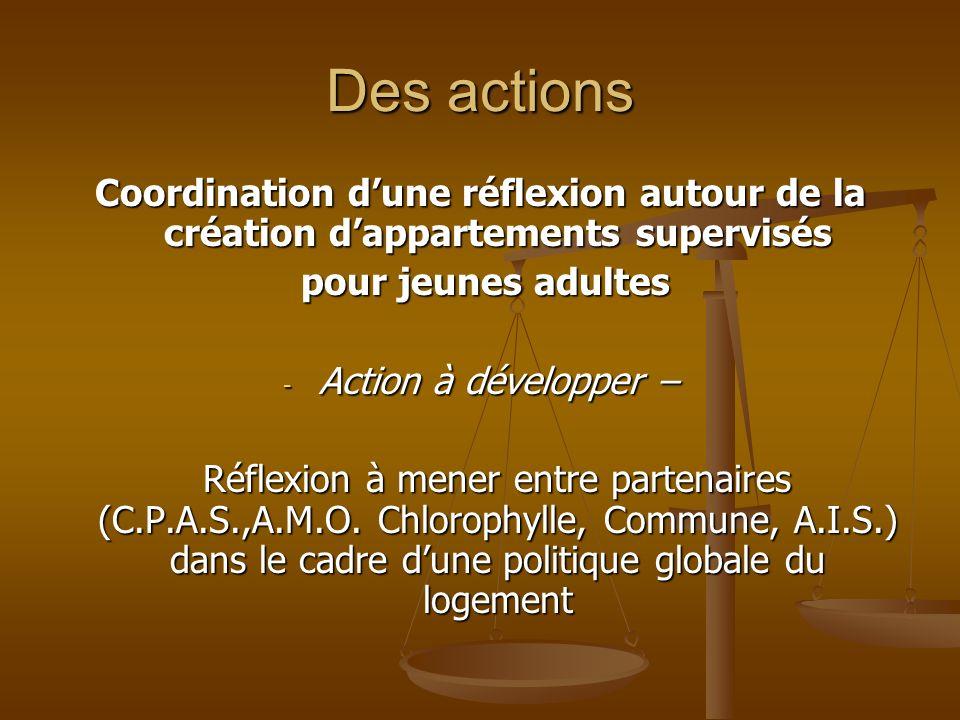 Des actions Coordination d'une réflexion autour de la création d'appartements supervisés. pour jeunes adultes.