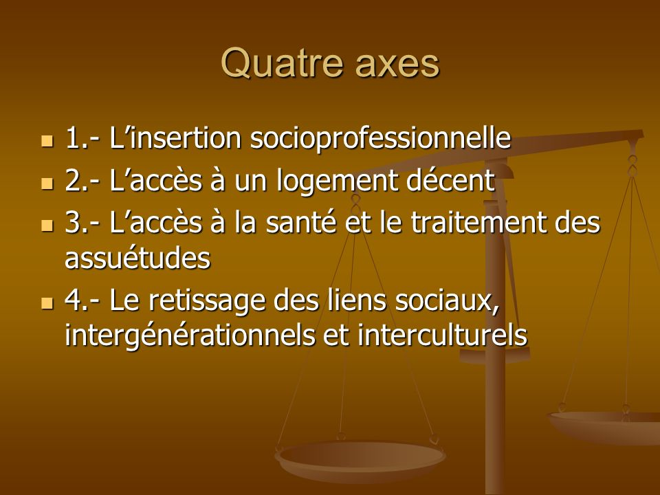 Quatre axes 1.- L'insertion socioprofessionnelle