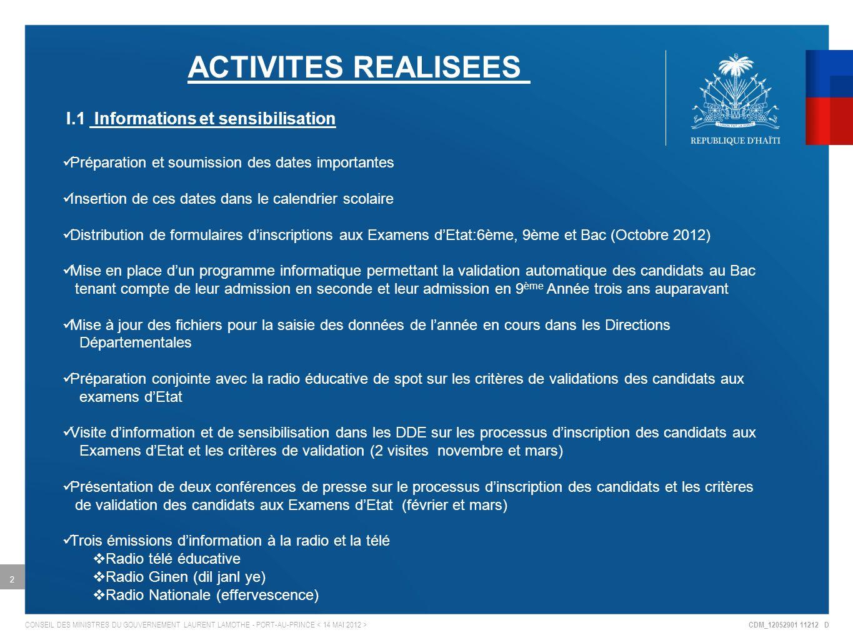 I.1 Informations et sensibilisation