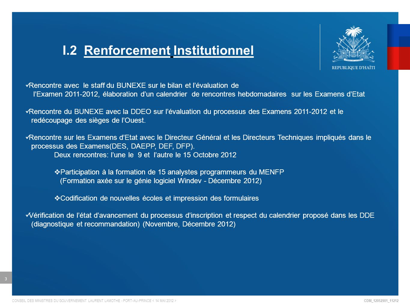 I.2 Renforcement Institutionnel