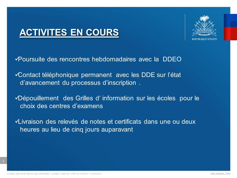 ACTIVITES EN COURS Poursuite des rencontres hebdomadaires avec la DDEO