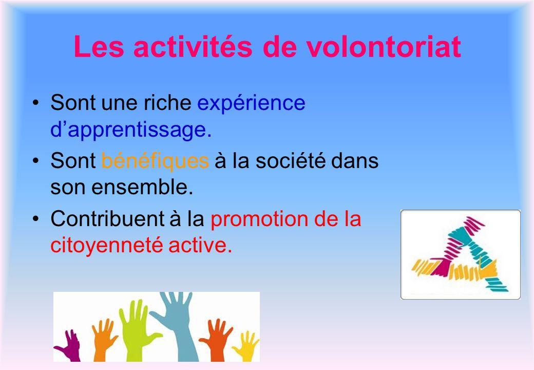 Les activités de volontoriat