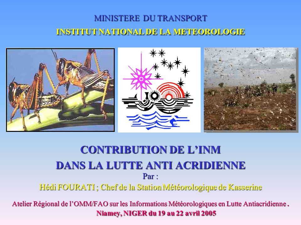 MINISTERE DU TRANSPORT INSTITUT NATIONAL DE LA METEOROLOGIE