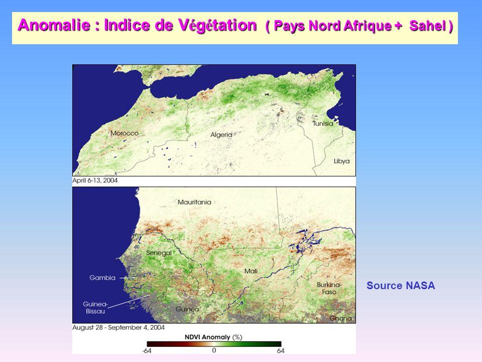 Anomalie : Indice de Végétation ( Pays Nord Afrique + Sahel )