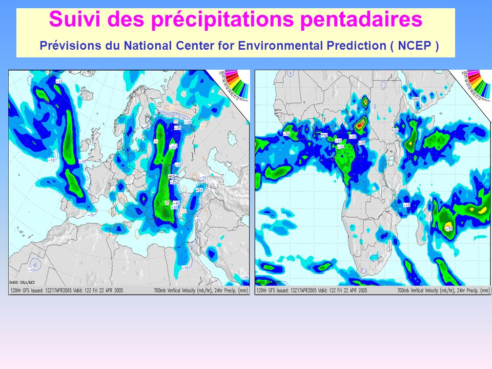 Suivi des précipitations pentadaires Prévisions du National Center for Environmental Prediction ( NCEP )