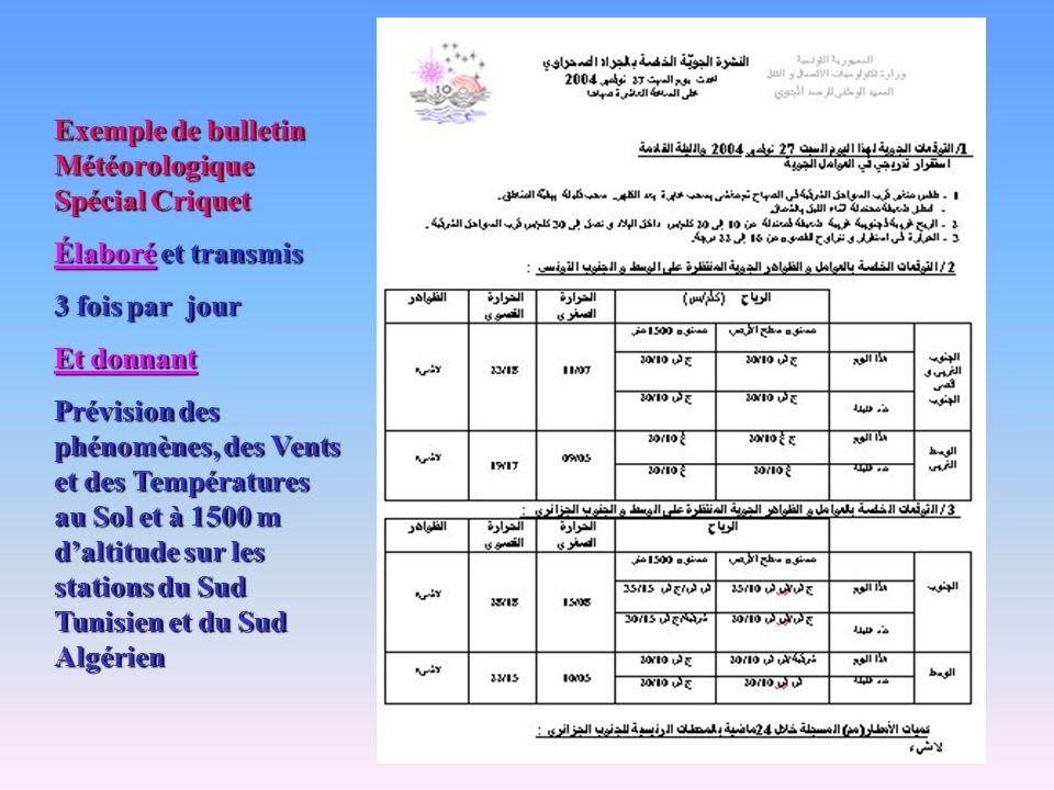 Exemple de bulletin Météorologique Spécial Criquet