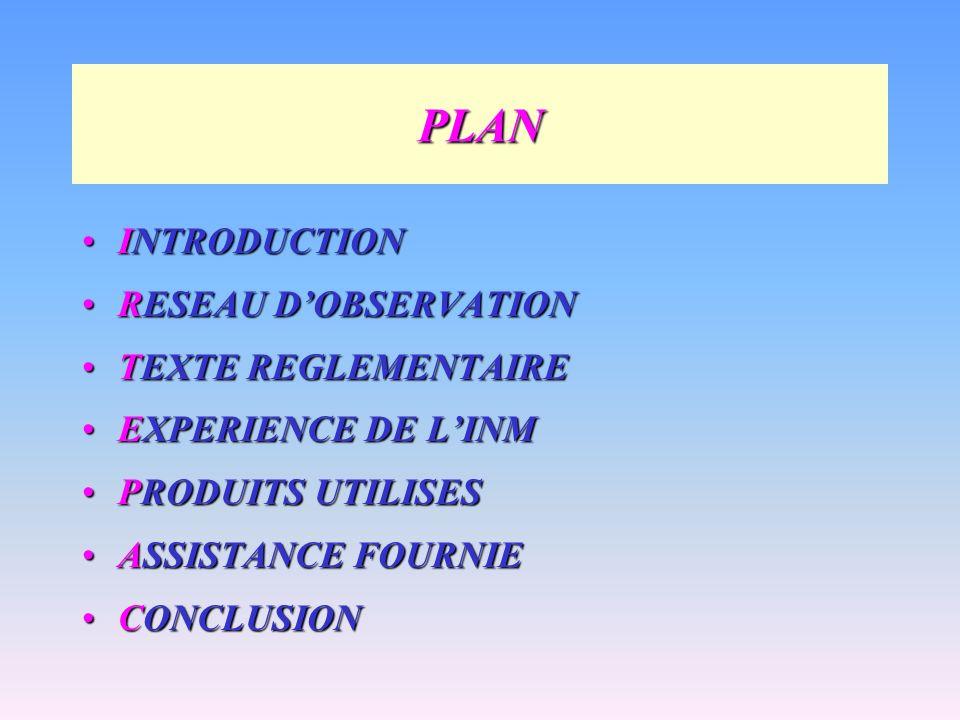 PLAN INTRODUCTION RESEAU D'OBSERVATION TEXTE REGLEMENTAIRE