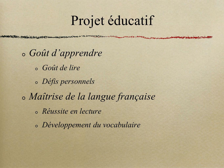 Projet éducatif Goût d'apprendre Maîtrise de la langue française
